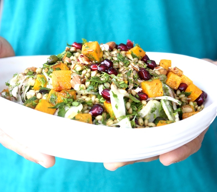 Wheat Berry and Butternut Squash Salad - farm on plate